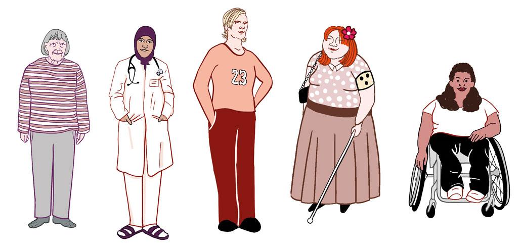 Zeichnung: 5 verschiedene Frauen stehen nebeneinander.