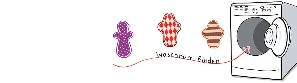 """Zeichnung: 3 waschbare Binden """"fliegen"""" in Richtung einer offenen Waschmaschine. Unter ihnen die Beschriftung """"waschbare Binden"""""""
