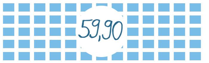"""eine Fläche aus vielen blauen eckigen Bausteinen. In der Mitte steht """"59,90"""""""
