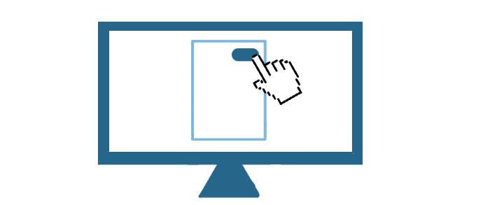 Bildschirm mit digitaler Hand als Cursor. Sie zeigt auf einen Button in einem Dokument