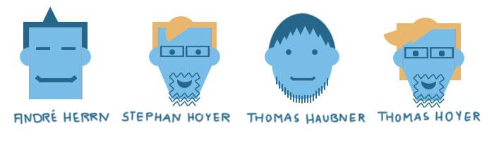 Vier abstrakte Portraits der vier Gründer. Ihre Kopfformen ähneln den Formen von Bausteinen. Darunter ihre Namen.