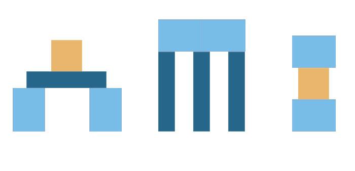 3 einfache Kontruktionen aus Spielbausteinen.