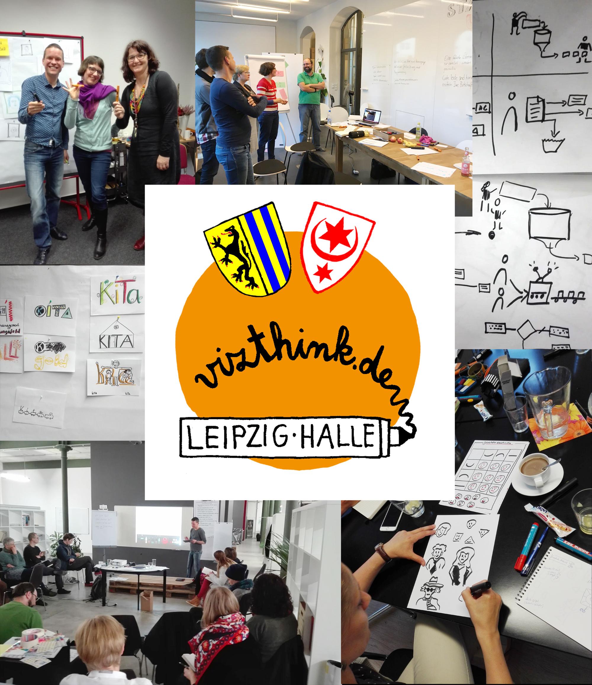 Vizthink-Meetup-Leipzig-Halle: Leute visualisieren zusammen und sehen gut gelaunt aus.