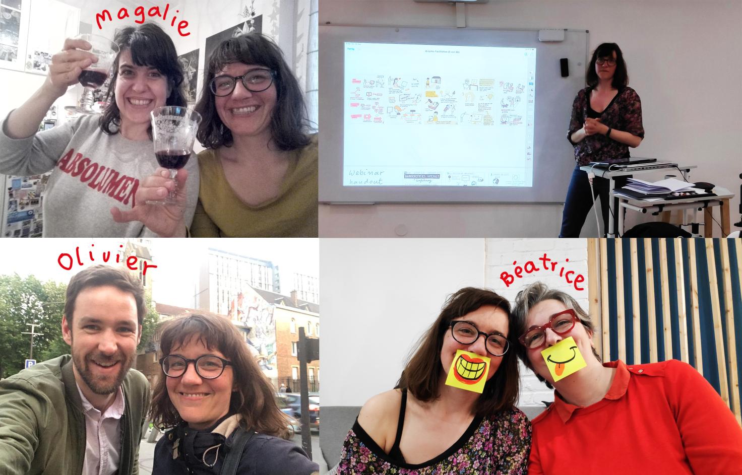 Vier Bilder insgesamt. drei Selfies mit der jeweiligen Person. Das mit Magalie sieht lustig aus, weil wir mit Weingläsern lachen und das mit Beatrice sieht lustig aus, weil wir Posits auf unseren Münden kleben haben. Darauf sind lachende Münder gezeichnet. Ein Foto zeit mich beim Präsentieren ins Beas Workshop.