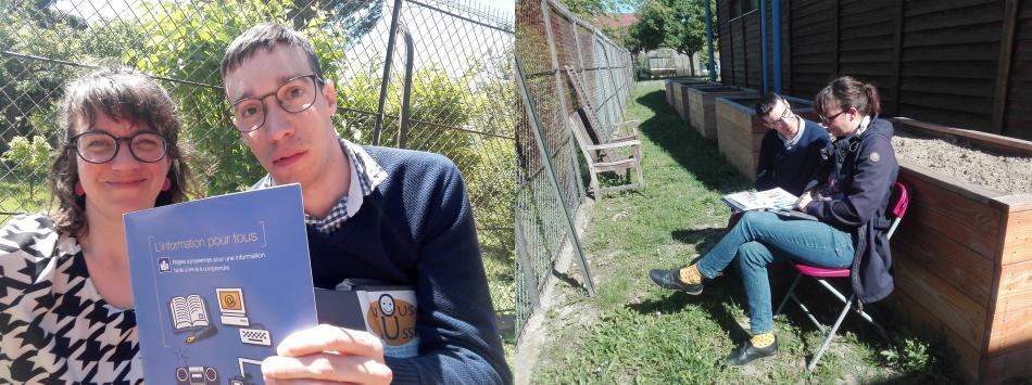 """Bild besteht aus zwei Fotos: Foto 1: ich und Pierre in einem sonnigen Garten. Pierre hält ein Heft  in die Kamera mit Titel """"L'information pour tous"""". Foto 2: ich und Pierre diskutierend auf zwei Gartenstühlen in der Sonne."""