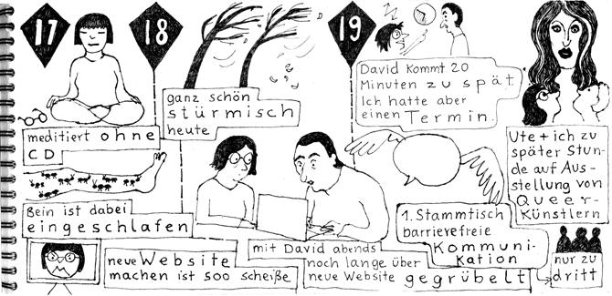 Seite aus Sketchnotes-Tagebuch. 17. bis 19.1.. 3 Spalten. Oben jeweils das datum in einem trapezförmigen Container. Bilder über Textkästen. Schöne schwarz-weiß Kontraste in den Bildern. Sieht irgendwie poetisch und verspielt aus.