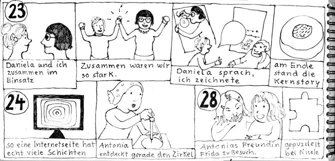 Seite aus Sketchnotes-Tagebuch. 23., 24. und 28.1.. zwei Zeilen mit gleichhohen Kästen gefüllt. In denen ist jeweils unten die schrift, darüber ein Bild.
