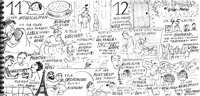 Seite aus Sketchnotes-Tagebuch 11. und 12. November: Sehr volles Blatt mit vielen kleinen feinen Illustrationen aus feinliner-Strichen und Text in Großbuchstaben.