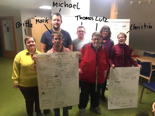Ich und Michael Peukert mit fünf Klientinnen und Klienten aus dem Wohnheim posieren für das Foto vor beschriebene Pinnwand. Zwei der Gruppe halten bezeichnetes Flipchart-Papier in der Hand. Über uns stehen handgeschrieben unsere Namen: Michael, Brita, Maik, Thomas, Lutz, Christine