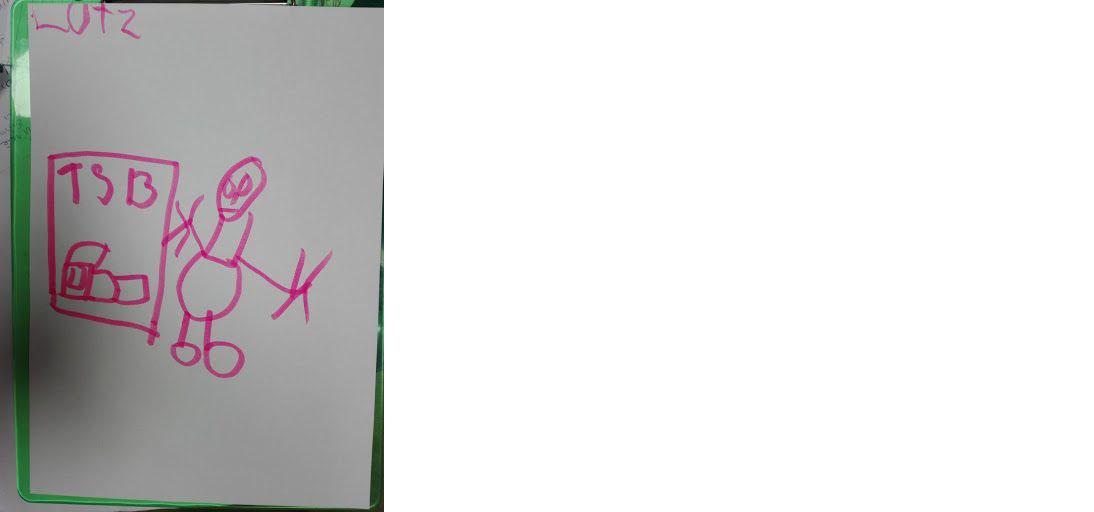 """Zeichnung von Lutz: ein Mensch hält eine Fahrkarte in der Hand mit der Aufschrift """"TSB"""" und eine Zeichnung eines Zuges."""