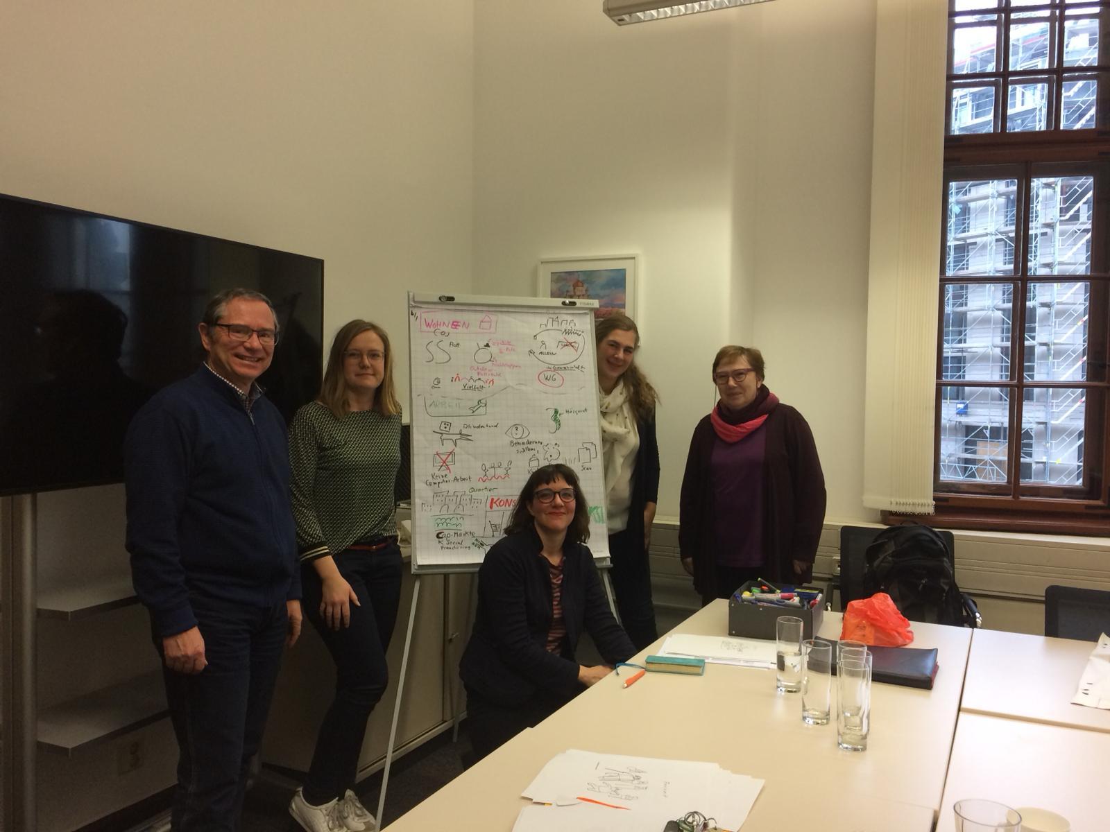Seminar-Raum im Rathaus Leipzig. Ich mit 4 Mitarbeiter:innen um ein beschriebenes Flipchart.