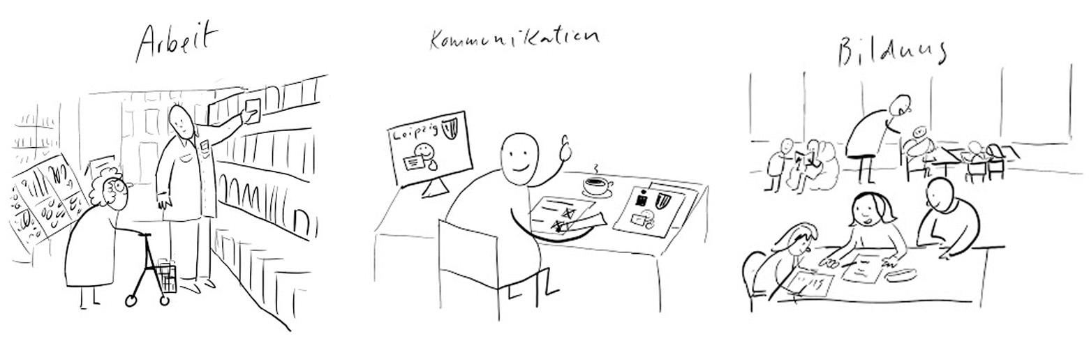 """3 Skizzen. Skizze 1 """"Arbeit"""": Szene im Supermarkt. Ein Verkäufer greift ins Regal und gibt einer älteren Frau mit Rollator eine Konservendose. Skizze 2 """"Kommunikation"""": Person sitzt am Schreibtisch am Rechner. Auf Bildschirm sieht man groß das Leichte-Sprache-Logo. Skizze 3 """"Bildung"""": Schüler arbeiten zusammen an einem Tisch in der Schule."""
