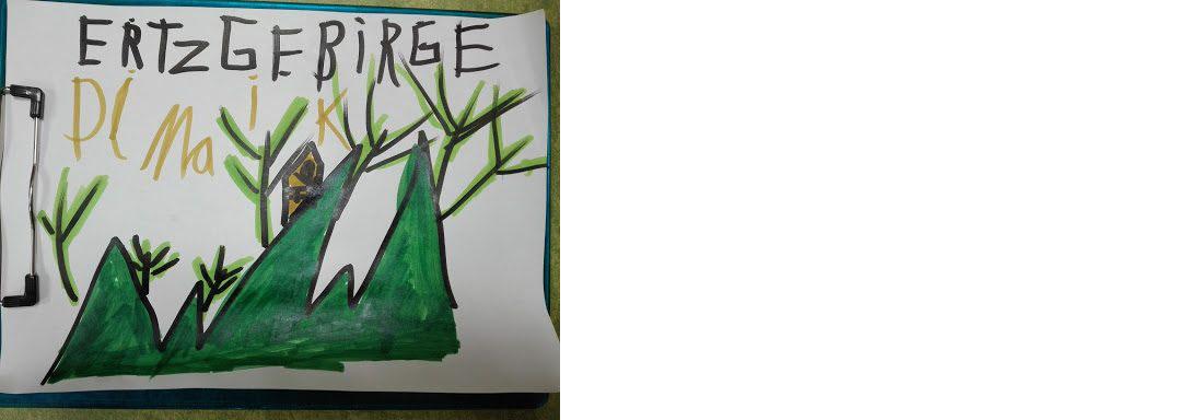 Zeichnung von Maik: Grüne Berge mit Bäumen drauf. Sehr naturbelassen.