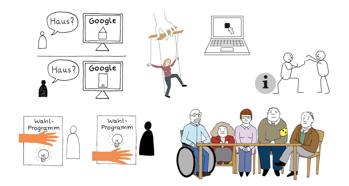 6 kleine Illustrationen in verschiedenen Stilen. Bild 1: zwei Teile: im ersten Teil fragt ein Mensch Gogle nach