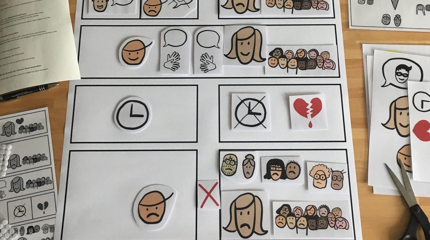 zwei Plakate A1. 1: Panels in 5 Zeilen wie in eine Comic. Darin sind iIons und Köpfe abgebildet, alles sehr minimal gezeichnet. Der Kopf eines Schülers, der von einem Superhelden träumt. Und der seiner Lehrerein, die mit Herzblut unterrichtet. Der Schüler kann shlecht kommunizieren, weil er nicht sprechen, lesen oder schreiben kann. Er benutzt einen Talker zum Sprechen und hat einen Assistenten. Die Lehrerin ist unglüchlich darüber. Dann entdeckenn sie, dass sie mit gebärden kommunizieren können. Leiderfehlt der Lehrerin die Zeit, sich und ihren Schülern Gebärdensprache beizubringen. Ihr herz blutet. Plakat 2: großes Kugeleis mit 4 Kugeln, in denen jeweils steht: Metacom, Wort, Audio und Gebärdenvideo. das ist die EiS-App. Alle beteiligtten (Schüler, Mitschüler, Lehrerein, verwandte und Freunde können damit einfach gebärden lernen und miteinander kommunizeren.