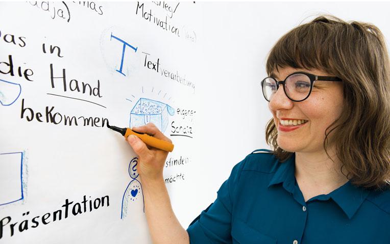 Simone am Flipchart schreibend. Sie hält einen schwarzen Marker in der Hand und schaut lachend auf das Papier. Darauf sieht man außerem auch diverse Piktogramme, die den Text verdeutlichen.