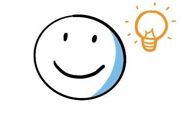 Zeichnung eines lächelnden Smileys. Neben ihm leuchtet eine Glühbirne als Symbol dafür, dass er etwas versteht.