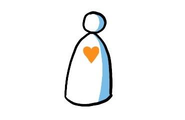 Zeichnung eines sehr abstrahierten Menschen, der dasteht. Auf seiner Brust schlägt ein Herz.