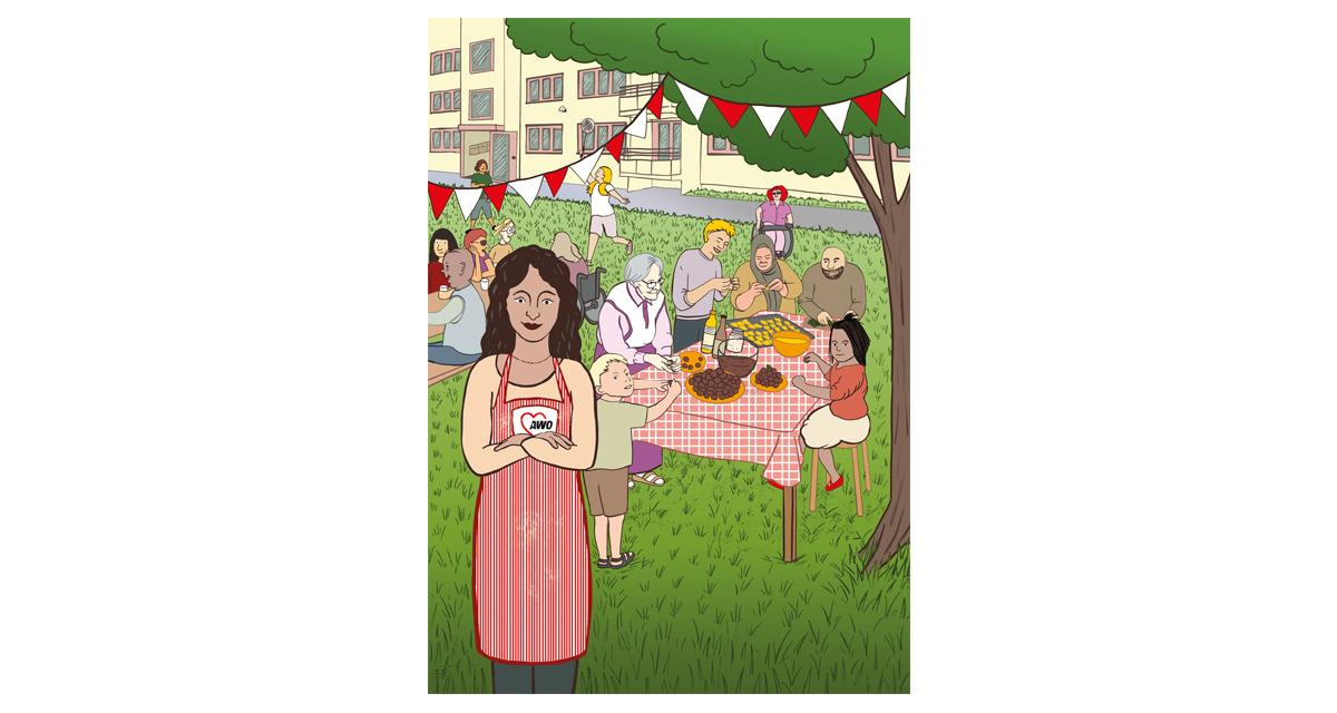 Farbiger Illustration. Es ist eine selbstbewusste junge Frau zu sehen mit AWO-Schürze, die in einem Garten in einem Neubauwohnkomplex posiert. Hinter ihr bereitet eine gut gelaunte Gruppe gemischter Leute Essen vor. Im Hintergrund essen und trinken Leute an einem Biergartentisch und spielen Federball. Es ist gutes Wetter und es herrscht eine ausgelassenen fröhliche Stimmung.