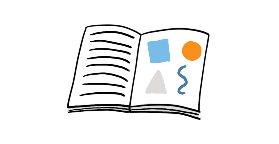 Zeichnung eines geöffneten Buches. Auf einer Seite ist Text angedeutet, auf der anderen eine abstrakte Grafik.