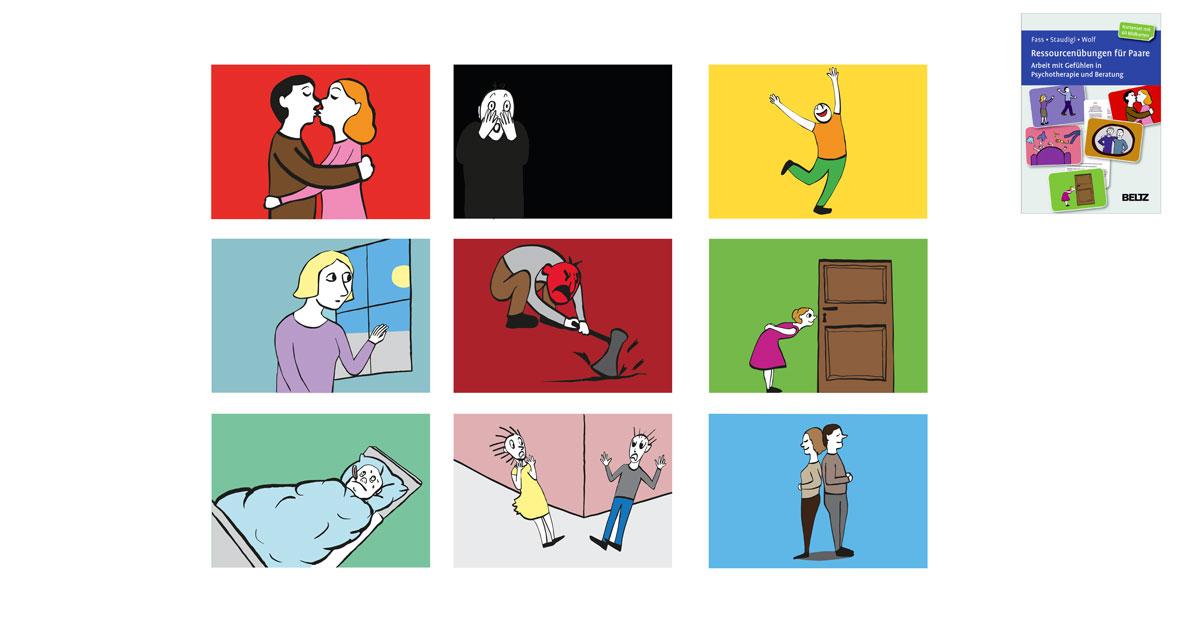 9 Karten quer. Jeweils in einer aneren kräftgen fare und mit einer anderen Szene. Z. B. en sich küssendes Paar, ein erschrockener Mann, ein freudiger tanzender Mann, eine Frau, die sehnsuchtsvoll aus einem Fenster schaut, ein Mann, der wütend mit einer Axt in den Boden schlägt, eine Frau, de neugierig durchs Schlüsselloch guckt, ein kranker Mann fiebernd im Bett, zwei personen, die sich an Straßenecke kreuzen und sich erschrecken voreinander, Mann und Frau, sich mit dem Rücken stehend an den anderen lehnend, entspannt und zufrieden.