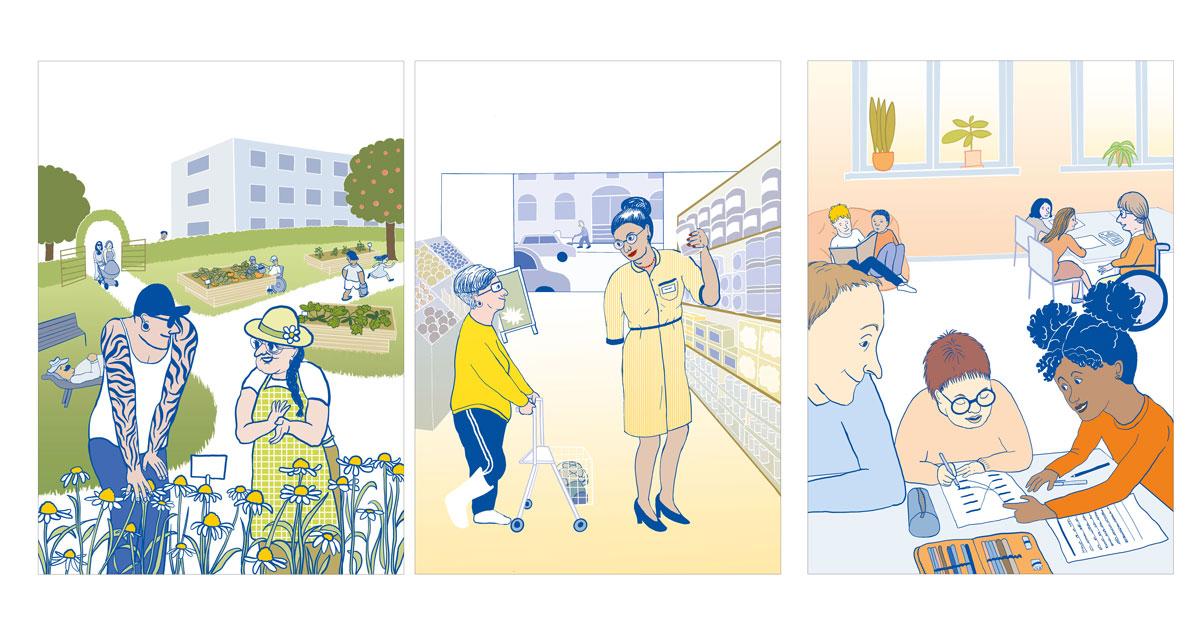 3 Illustrationen. Bild 1 (grün): ein junger Mann und eine mittelalte Frau mit Sonnenhut stehen vor einem Blumenbeet in einem öffentlichen Garten einer Stadt. Sie unterhalten sich mit Gebärdensprache. Am Beet ist ein kleines Schild angebracht, das auf die Blumenart hinweist. Im hntergrund die große Flächae des Gartens mit befahrbahrren Hochbeeten und Menschen, die darin gärtnern. In einer Ecke stehen eine Bak und Liege, auf der sich gerade ein Mann ausruht.  Der Garten ist umgeben von einem Strauch als Abgrenzung zur Straße. Durch ein überwachsenes uberwachsenes Gartentor treten gerade zwei Frauen mit Kinderwagen und Kind ein. Weiter im Hintergund auf der Straße ragt ein 50 er Jahre gepflegter Plattenbau in die Höhe. Bild 2: Supermarkt am Regal. Eine junge Frau mit Rollator und Gips am Bein fragt eine Verkäuferin mit einem Arm, ihr ein Lebensmittel aus dem oberen Regal zu reichen. Die verkäuferin reicht s ihr freundlich. Die Käuferin ist zufrieden. Bild 3: Schulklasse. Zwei Tischgruppen, an denen Kndern arbeiten. Hinten eine Kissenecke, auf denen zwei Jungs Bücher lesen. Eine lehrerein im Rollstuhl hilft zwei Mädchen am Tisch beim Arbeiten. Im Vordergrund: ein Mädchen zeigt einem Jungen mit Down-Syndrom, wie die Aufgabe auf dem Arbeitsblatt geht. Sein Assistent schaut entspannt zu. Junge freut sich.