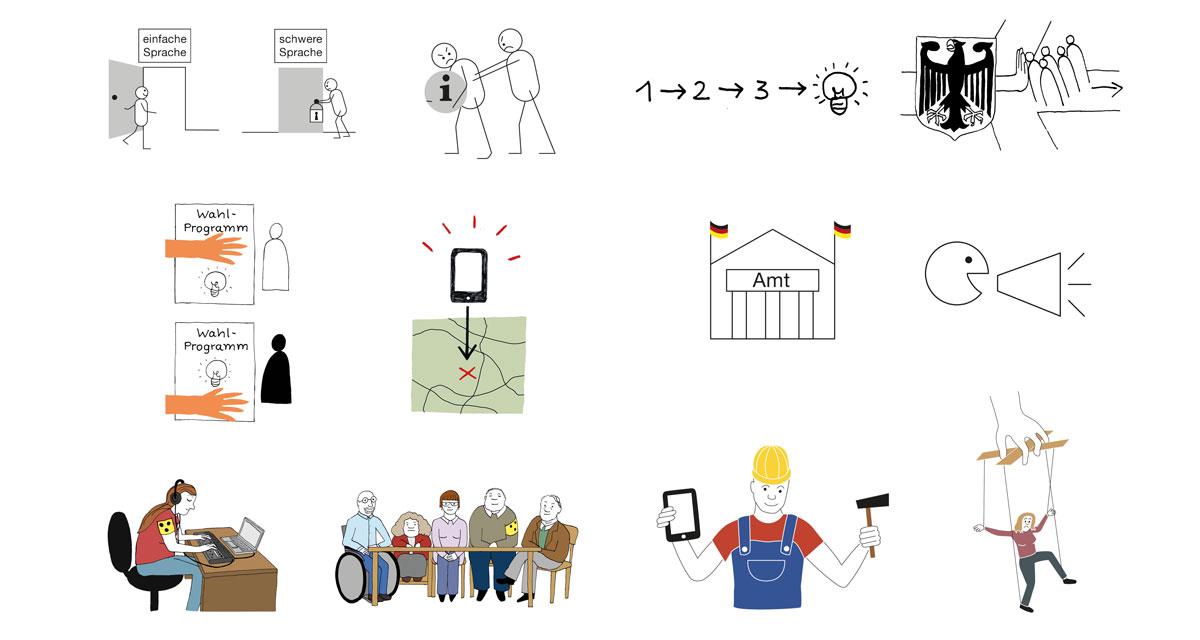 12 kleine Illustrationen in verschiedenen Stilen. Bild 1: Ein Strichmännchen geht froh durch eine offene Tür mit Aufschrift