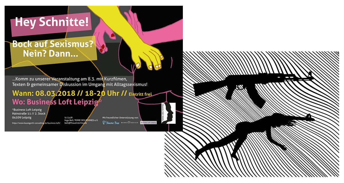 Zwei Bilder. Bild 1: Poster mit Titel
