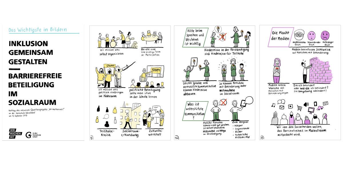 4 A4-Seiten: Das Wichtigste in Bildern: Inklusion gemeinsam gestalten – barrierefreie Beteiligung im Sozialraum. Fachtag des inklusiven Quartiersprojekts