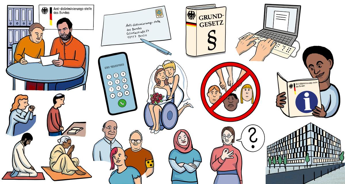 13 verschiedene Illustrationen: eine beratungssituation im Office des ADB, Breifumschlag mit Stift, Smartphone, 4 betende Personen aus verschiedenen Religionen, eine junge muslimische Frau steht selbstbewusst mit verschränkten Armen da, ein blinder Mensch, eine Punkerin, ein älterer Mann, eine Frau gebärdet