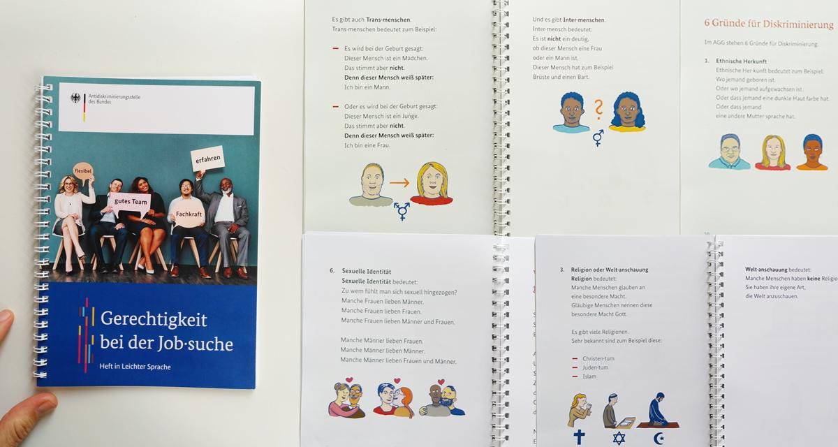 Broschüre mit Deckblatt und 4 Innenseiten. Auf dem Deckblatt steht