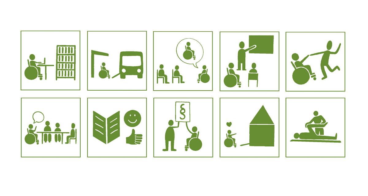 10 grüne Piktogramme zum jeweiligen Bereich