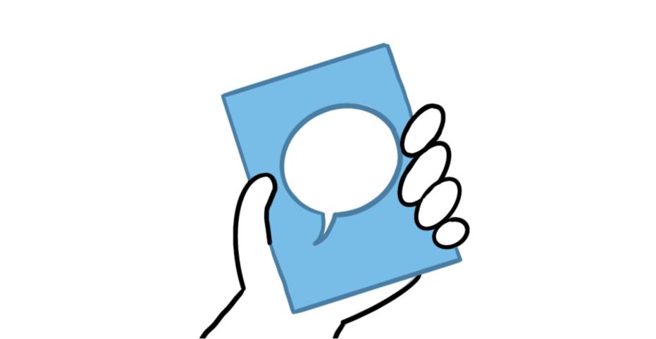 Zeichnung einer Hand, die Moderationskarte festhält