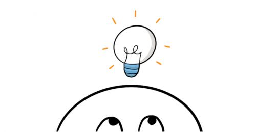 Glühbirne über Kopf